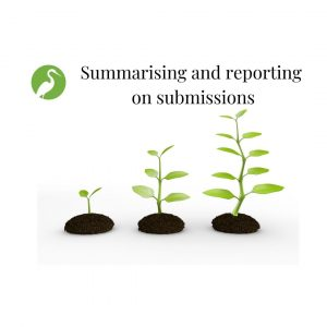 Summarising and reporting on submissions